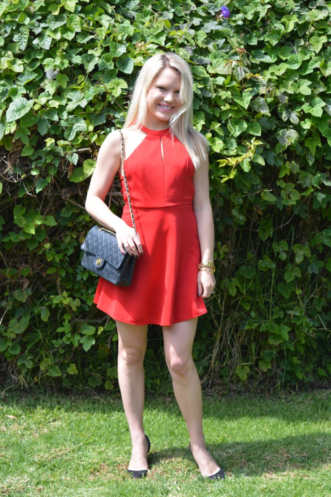 little red dress with black bag