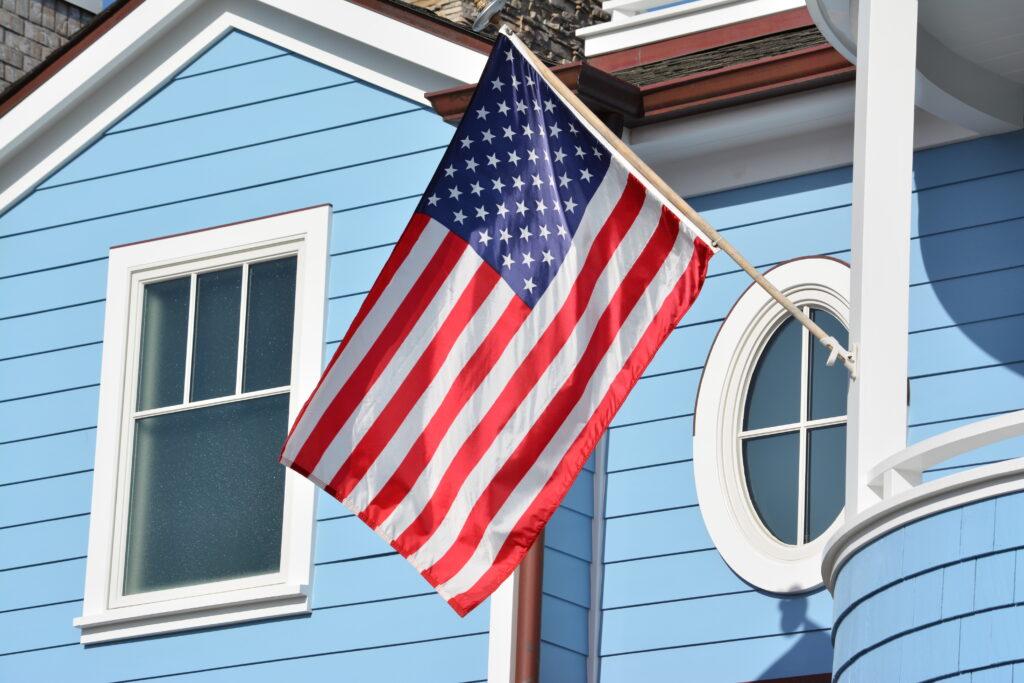 american flag on preppy beach house