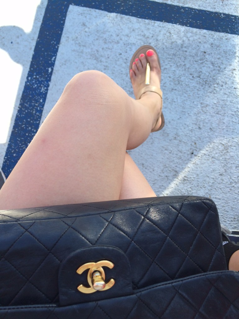 neon toes in Michael Kors sandals and chanel bag