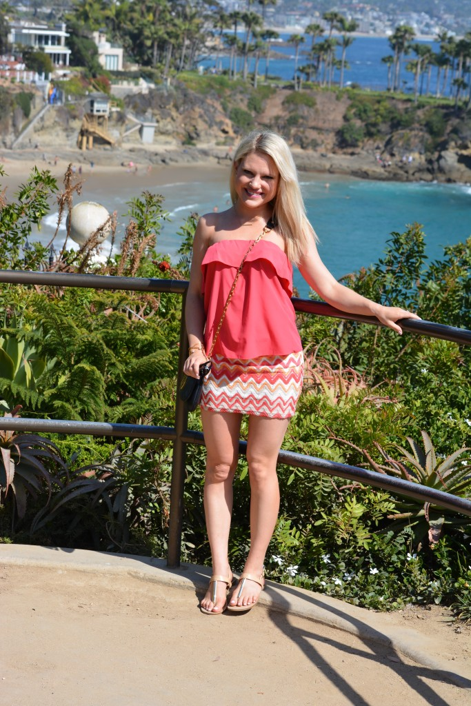 coral tubetop and aztec skirt