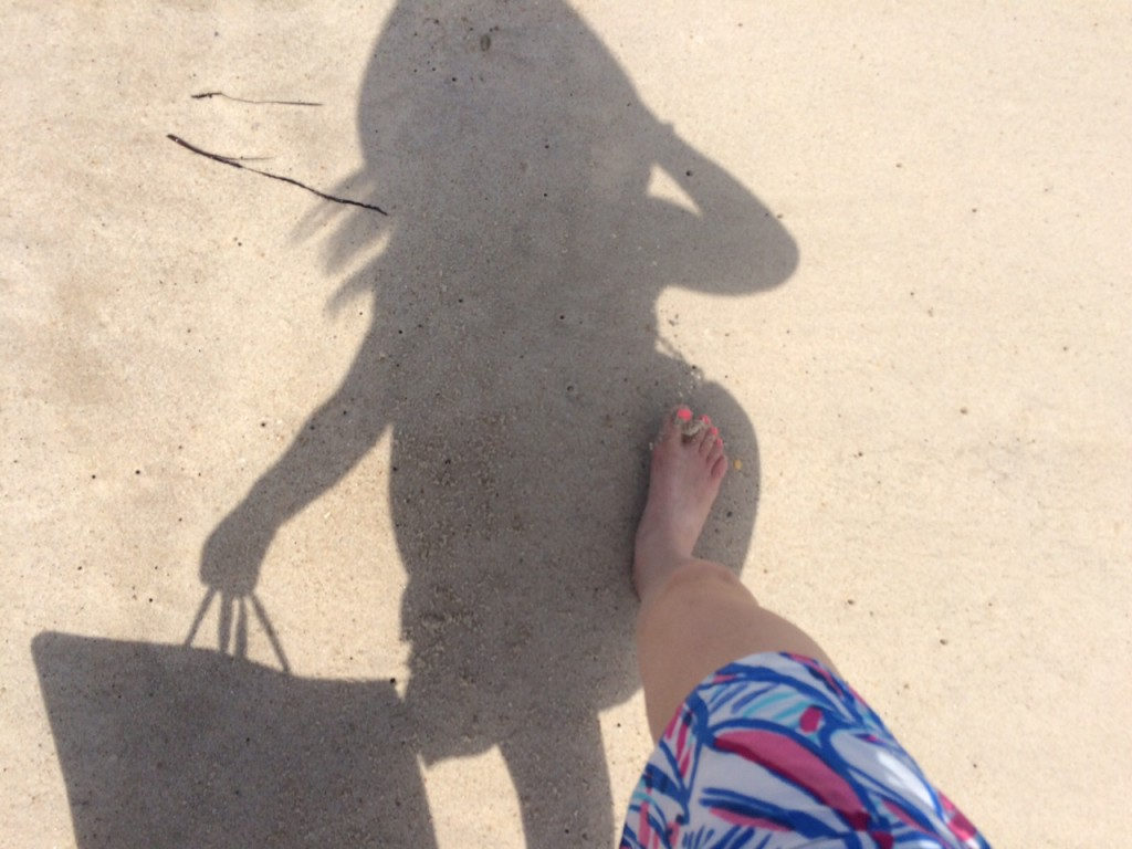 girl walking with beach shadow Caitlin Hartley of Styled American