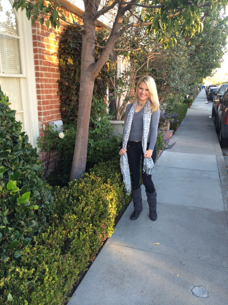 grey sweater, leapord grey scarf, black pants and grey booties Caitlin Hartley of Styled American