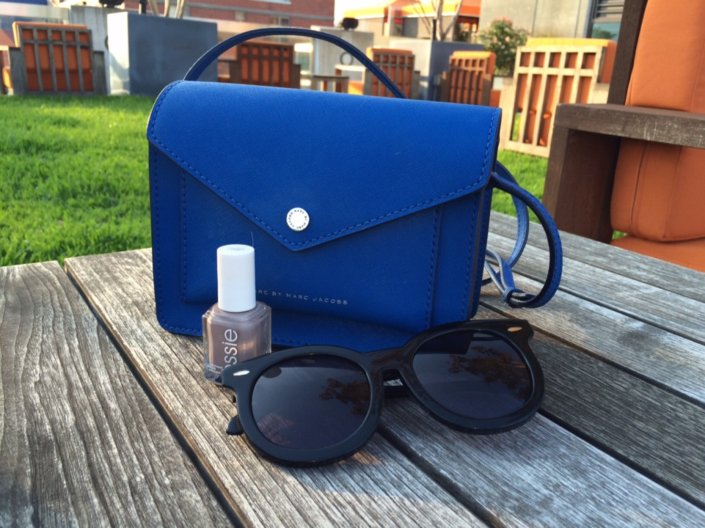 blue Marc by Marc Jacobs bag, Karen Walker Sunglasses, Essie nail polish Caitlin Hartley of Styled American http://styledamerican.com/nycs-newest-resident/