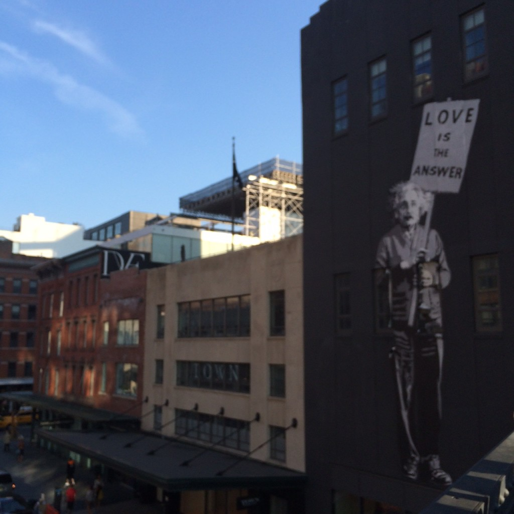 NYC Highline love is the answer sign Caitlin Hartley of Styled American
