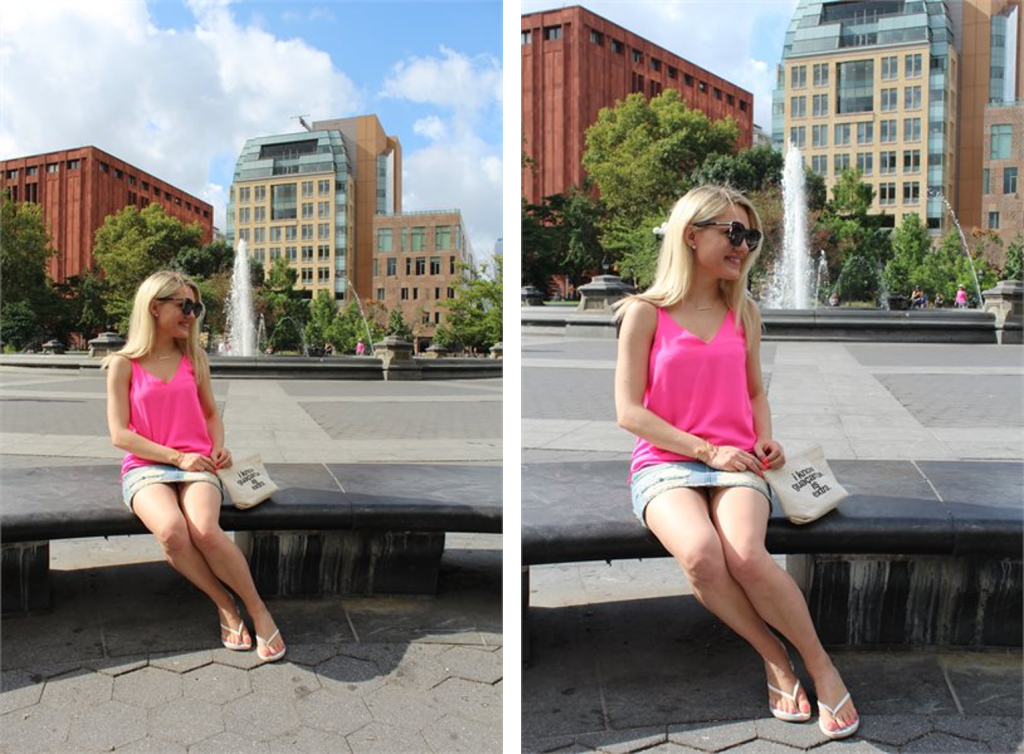 girl in pink tank top, jean skirt and quote bag sitting on park bench Caitlin Hartley of Styled American http://styledamerican.com/first-week-in-new-york/