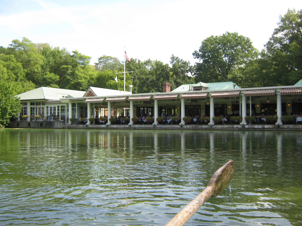 Caitlin Hartley of Styled American The Loeb Boathouse Central Park from a rowboat