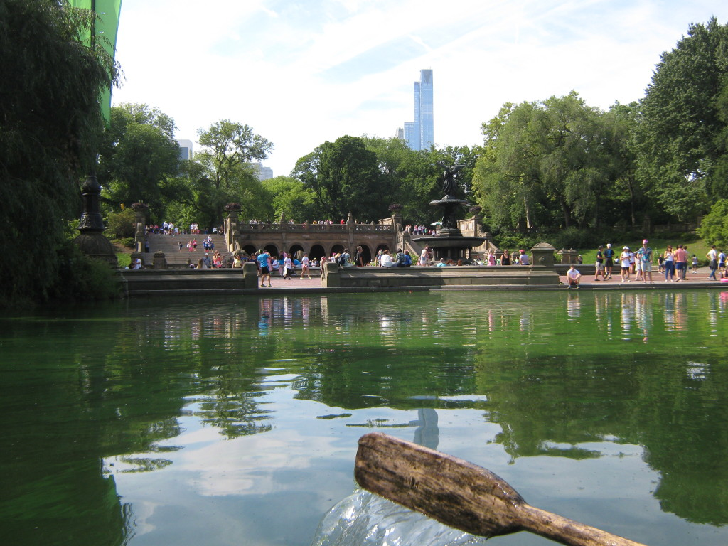 Caitlin Hartley of Styled American view of Central Park from a rowboat