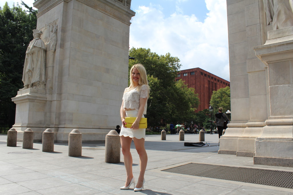 girl in white top and skirt Caitlin Hartley of Styled American http://styledamerican.com/pop-of-yellow-2/