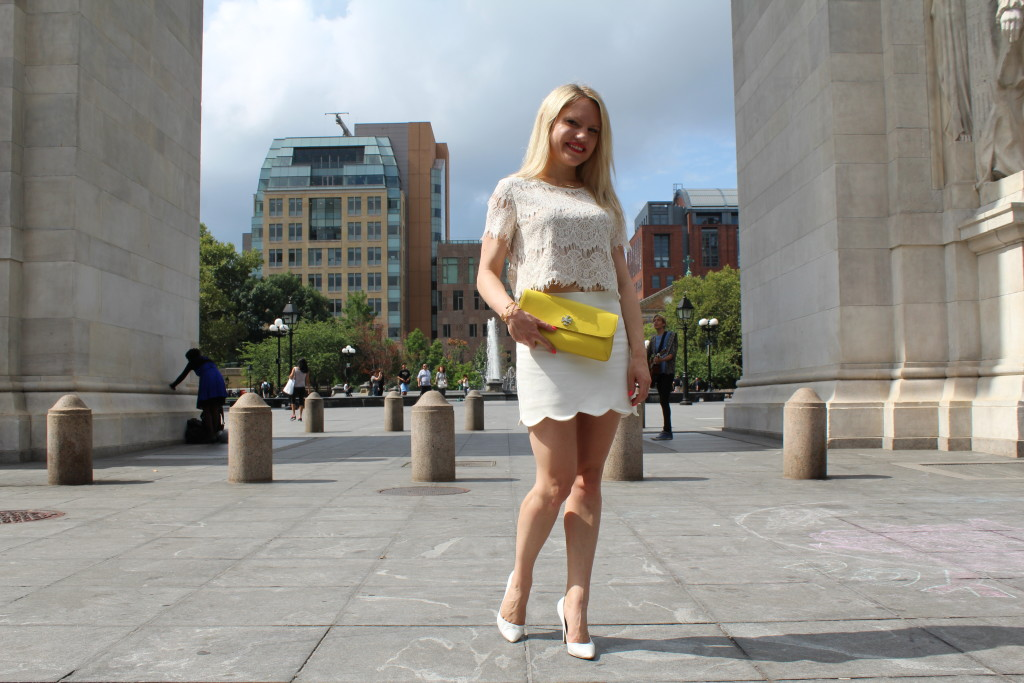 white scalloped skirt and yellow clutch Caitlin Hartley of Styled American http://styledamerican.com/pop-of-yellow-2/