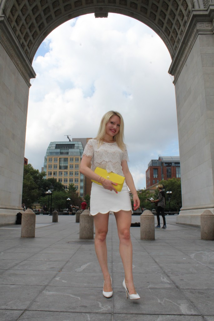 forever 21 lace white top, topshop scalloped skirt and yellow tory burch clutch Caitlin Hartley of Styled American http://styledamerican.com/pop-of-yellow-2/
