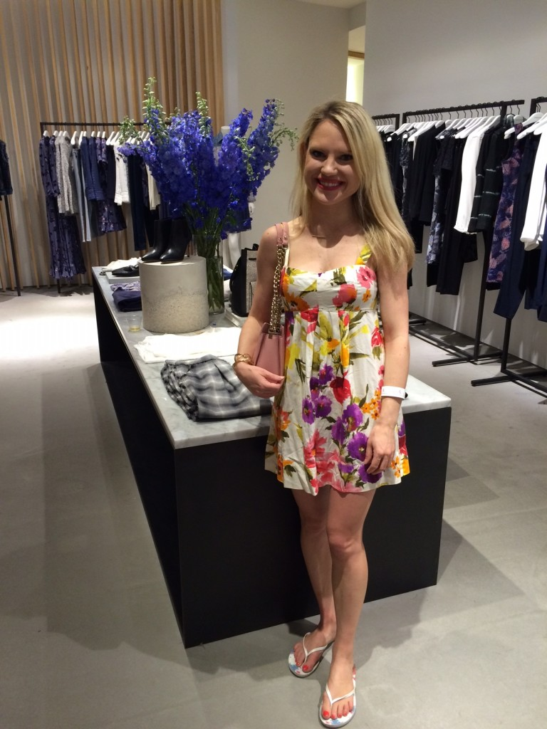Caitlin Hartley of Styled American girl in floral dress in Rebecca Taylor