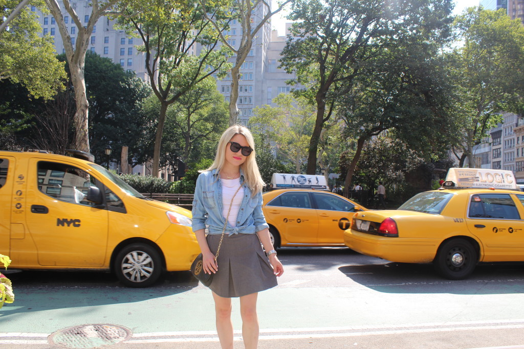 Caitlin Hartley of Styled American denim knot and grey skirt, nyc street style