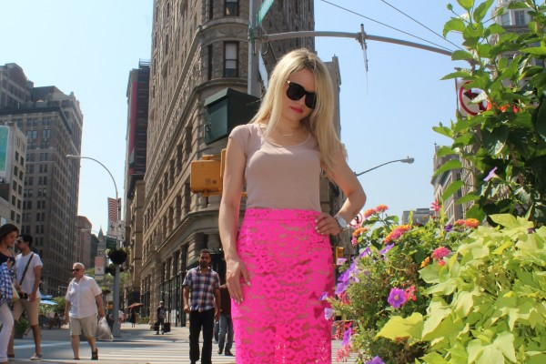 HOT PINK LACE SKIRT