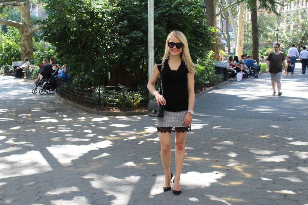 Caitlin Hartley of Styled American, short skirt with lace trim, karen walker sunglasses