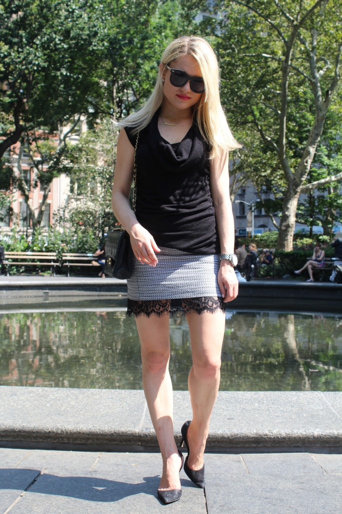 Caitlin Hartley of Styled American, lace mini skirt
