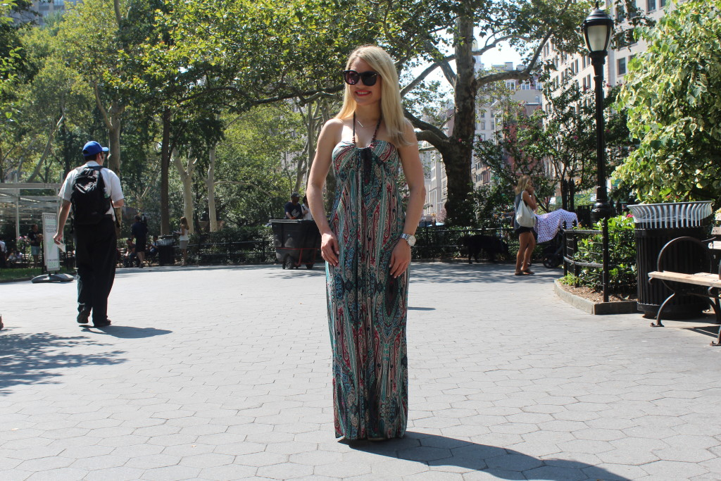 Caitlin Hartley of Styled American multi-color maxi dress