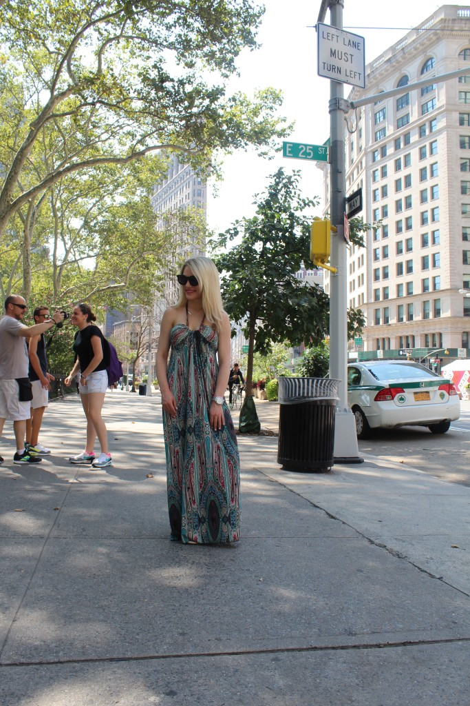Caitlin Hartley of Styled American boho maxi dress