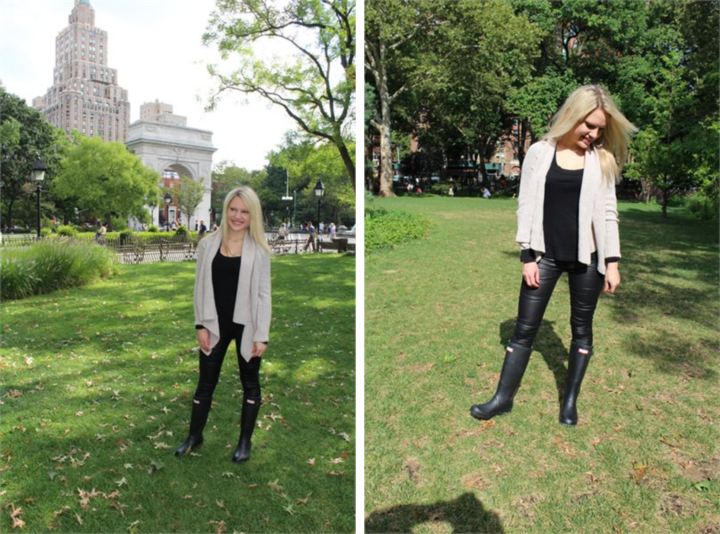girl in knit cardigan, black hunter boots and black leggings Caitlin Hartley of Styled American http://styledamerican.com/rain-boots/