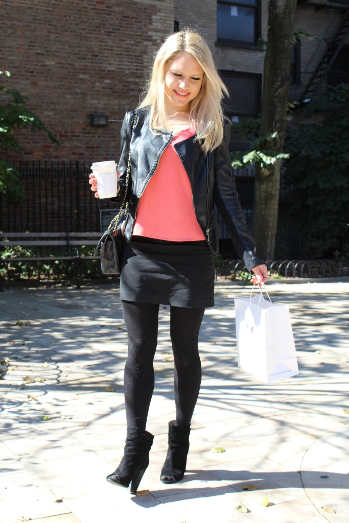 Caitlin Hartley of Styled American black and coral outfit
