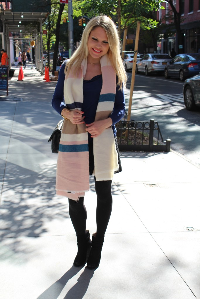 Caitlin Hartley of Styled American multi-colored stripe scarf