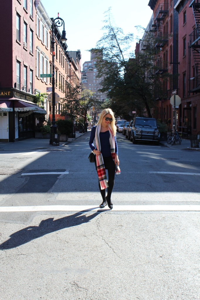 Caitlin Hartley of Styled American nyc fashion blogger, red plaid scarf