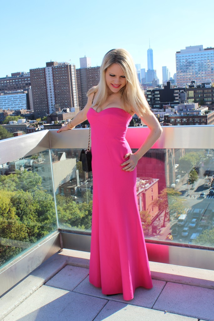 Caitlin Hartley of Styled American hot pink dress