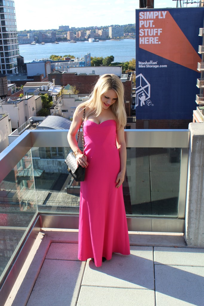 Caitlin Hartley of Styled American girl in bright pink dress