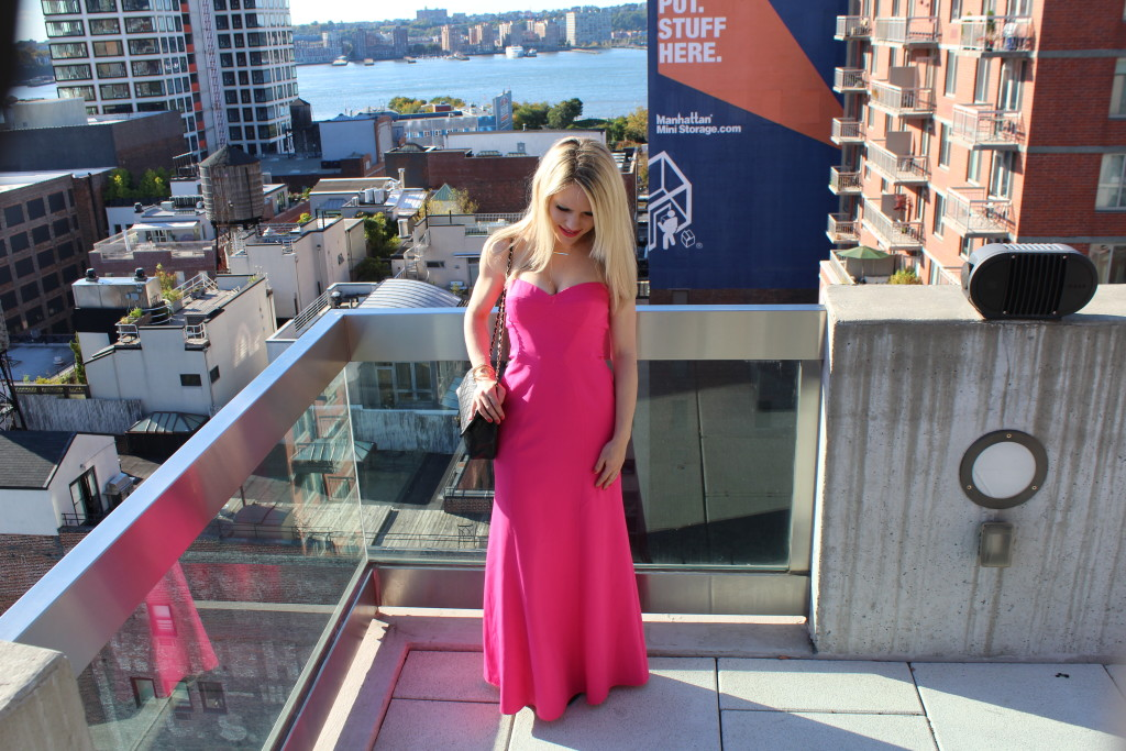 Caitlin Hartley of Styled American long dress with sweetheart neckline