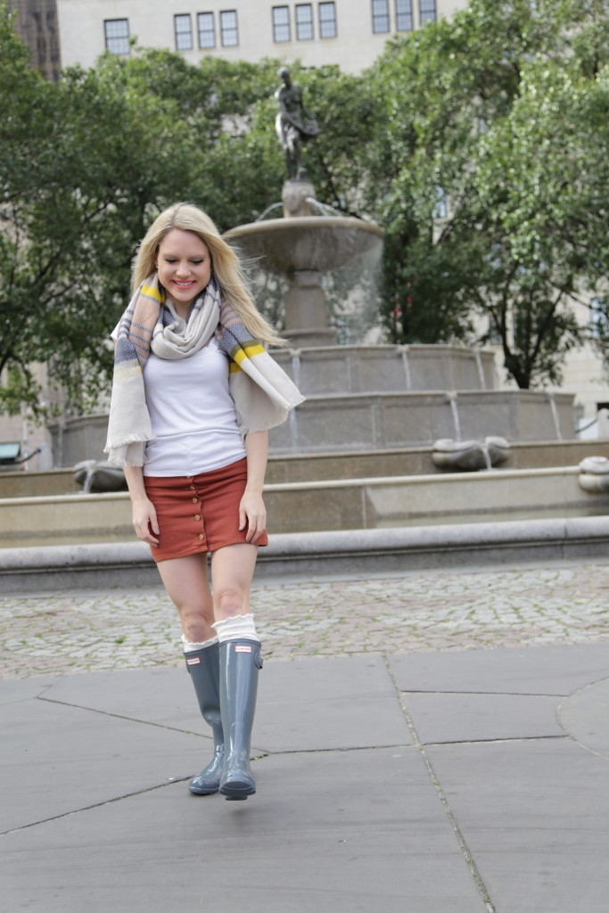 Caitlin Hartley of Styled American dusty blue print scarf and rain boots