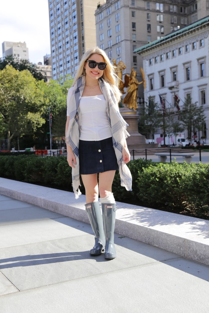Caitlin Hartley of Styled American fall style, rain boots