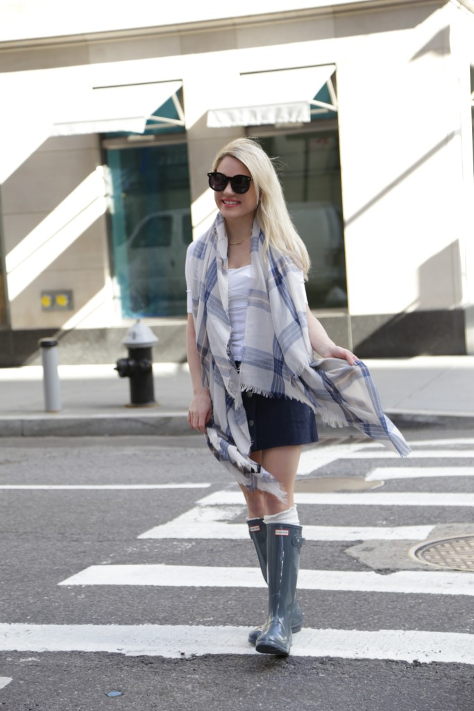 Caitlin Hartley of Styled American blue plaid scarf