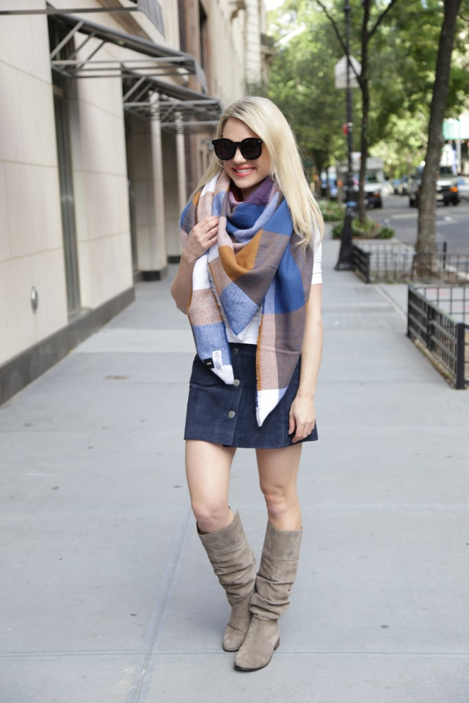 Caitlin Hartley of Styled American multi-color blanket scarf