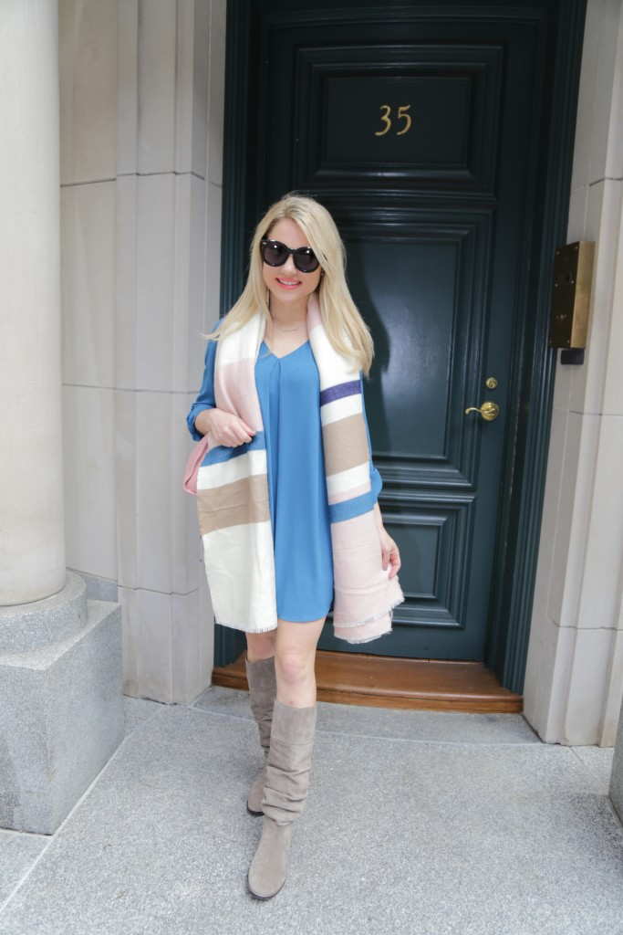 Caitlin Hartley of Styled American blue shirt dress, striped scarf