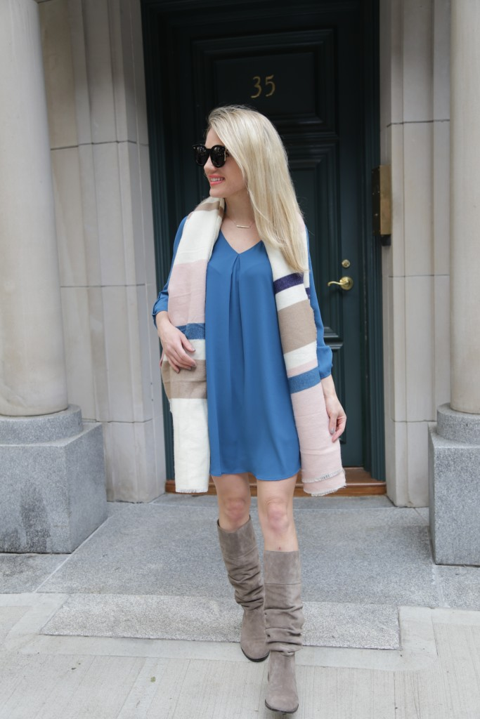 Caitlin Hartley of Styled American, blue t-shirt dress, asos scarf, grey boots