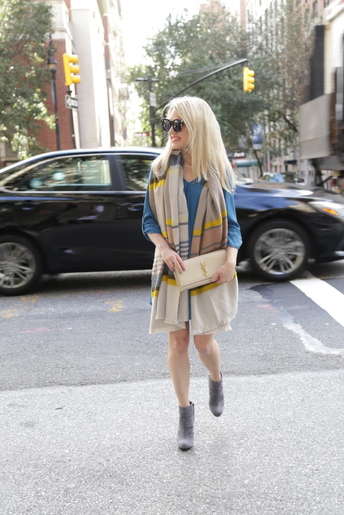 Caitlin Hartley of Styled American grey suede booties, shirt dress