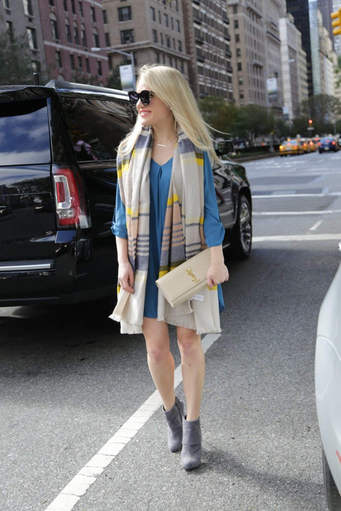 Caitlin Hartley of Styled American shirt dress with oversized scarf