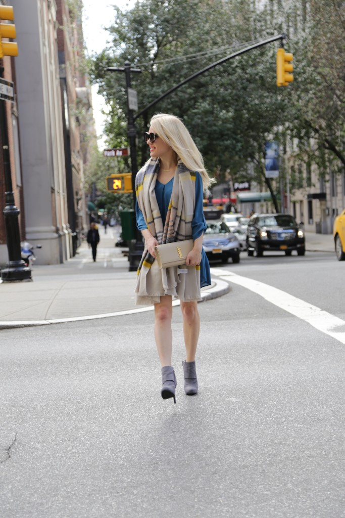 Caitlin Hartley of Styled American shirt dress, fall style, YSL clutch