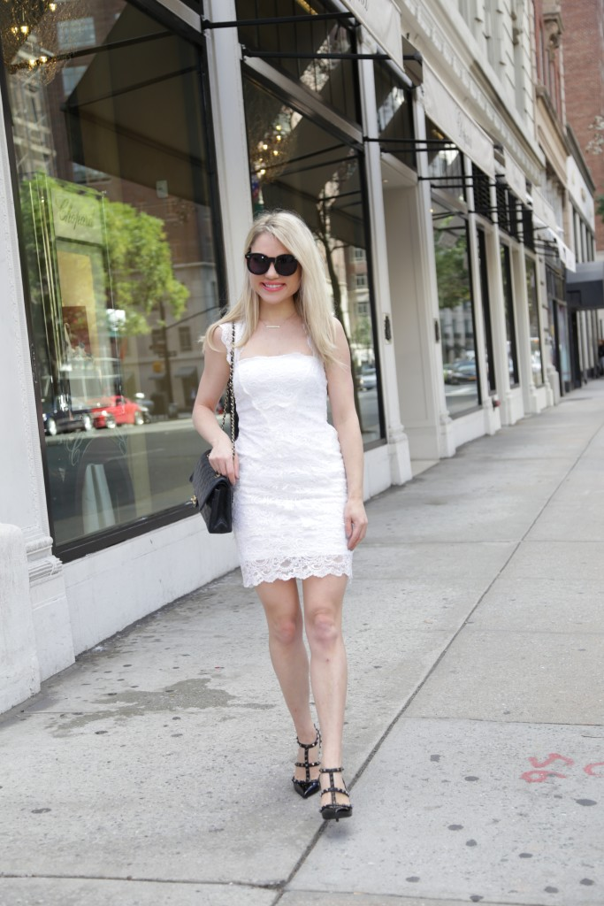 Caitlin Hartley of Styled American white lace dress
