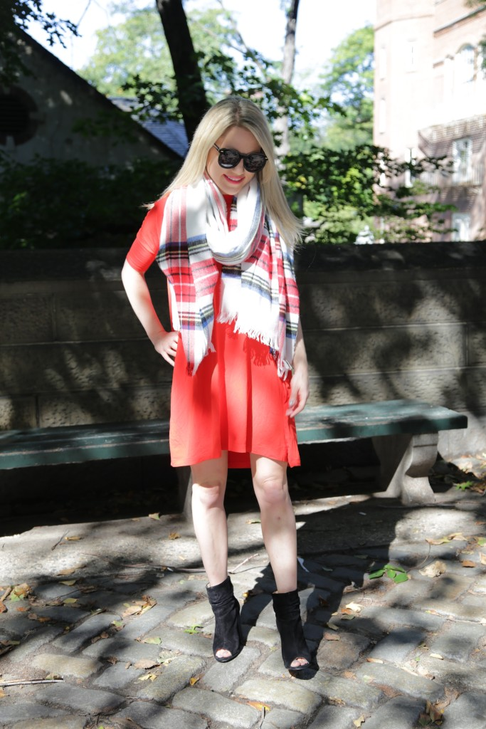 Caitlin Hartley of Styled American red dress, red plaid scarf