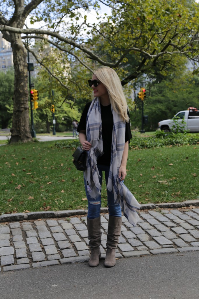 Caitlin Hartley of Styled American in layered scarf, ripped denim and suede boots, privacy policy page