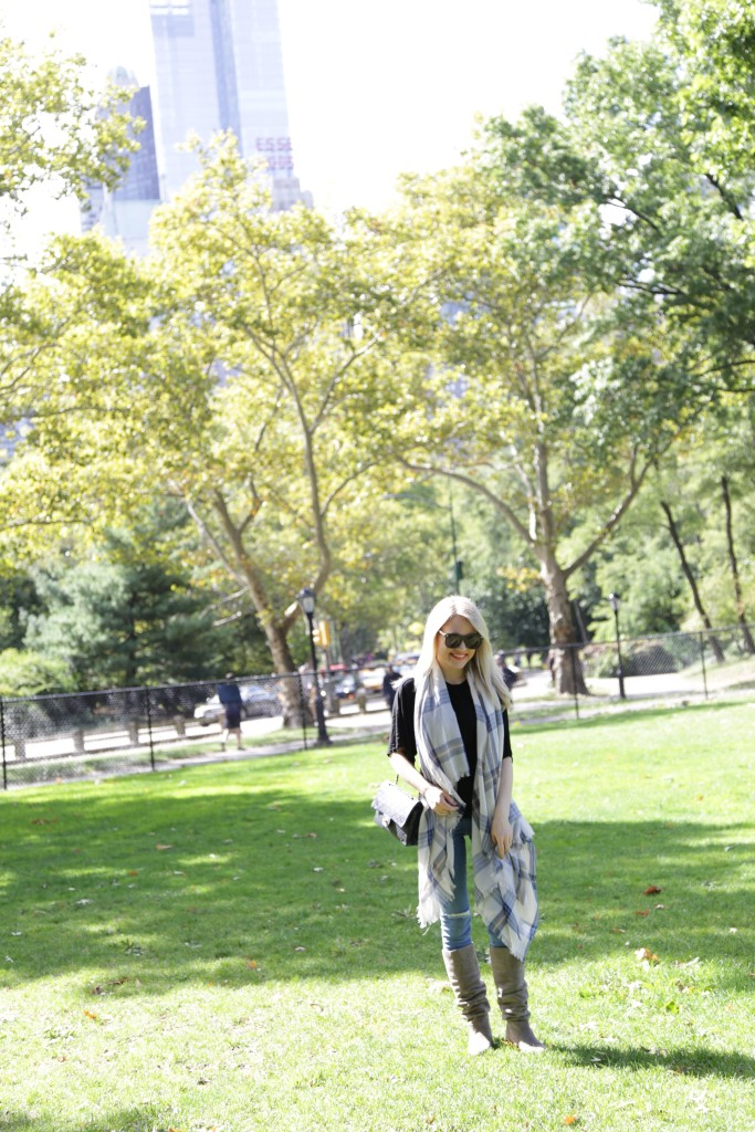Caitlin Hartley of Styled American waterfall scarf, ripped denim jeans, central park