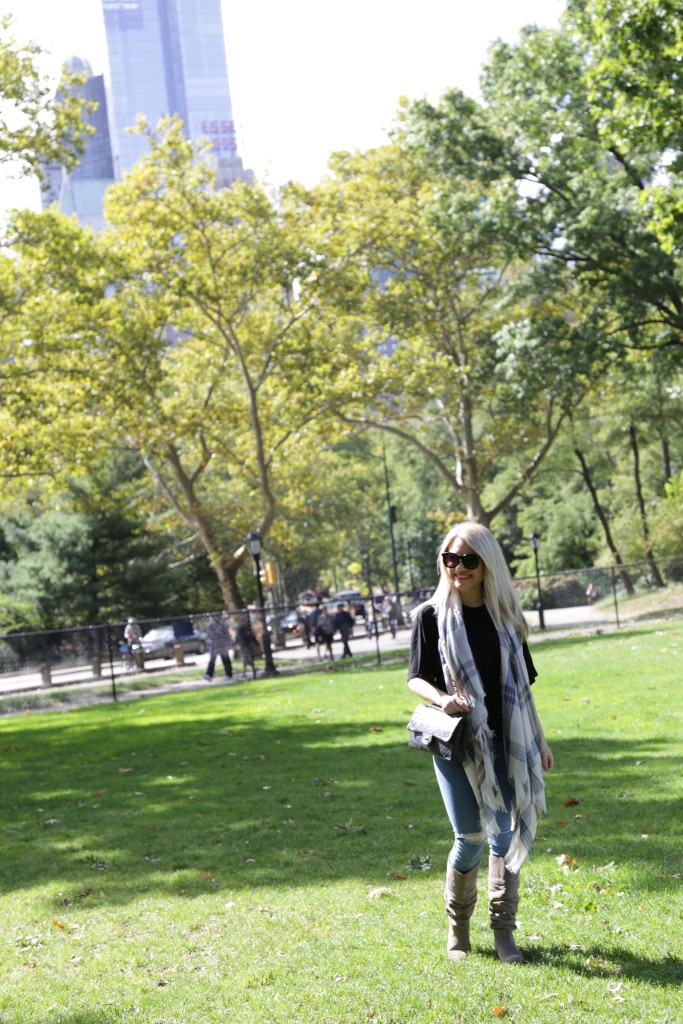 Caitlin Hartley of Styled American blue check scarf, ripped denim, grey boots, central park