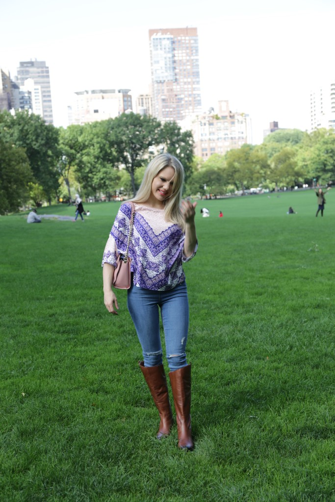 Caitlin Hartley of Styled American, boho top, stretch denim and ridding boots