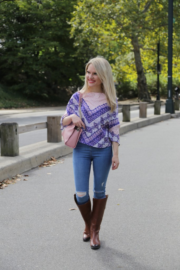 Caitlin Hartley of Styled American scarf print top