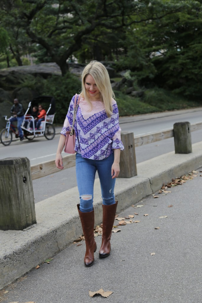 Caitlin Hartley of Styled American, print top, ridding boots