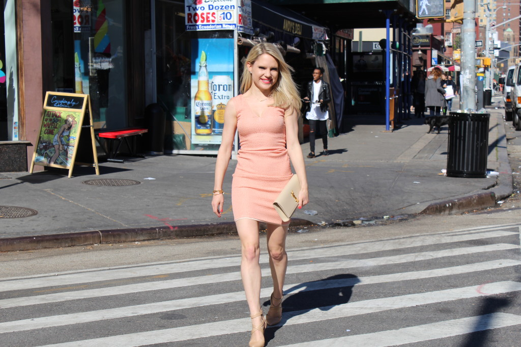Caitlin Hartley of Styled American girl in coral dress in nyc