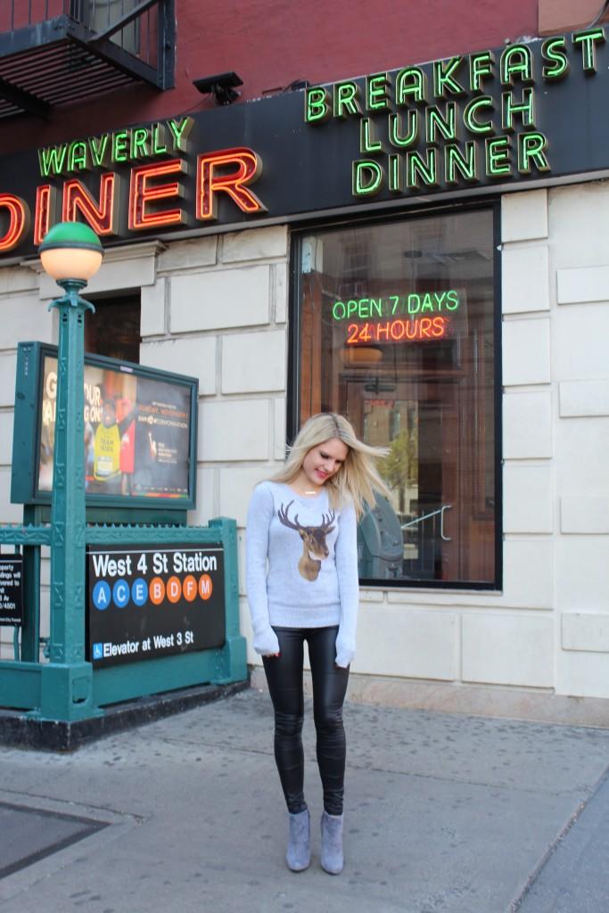 Caitlin Hartley of Styled American deer sweater, leggings, grey booties