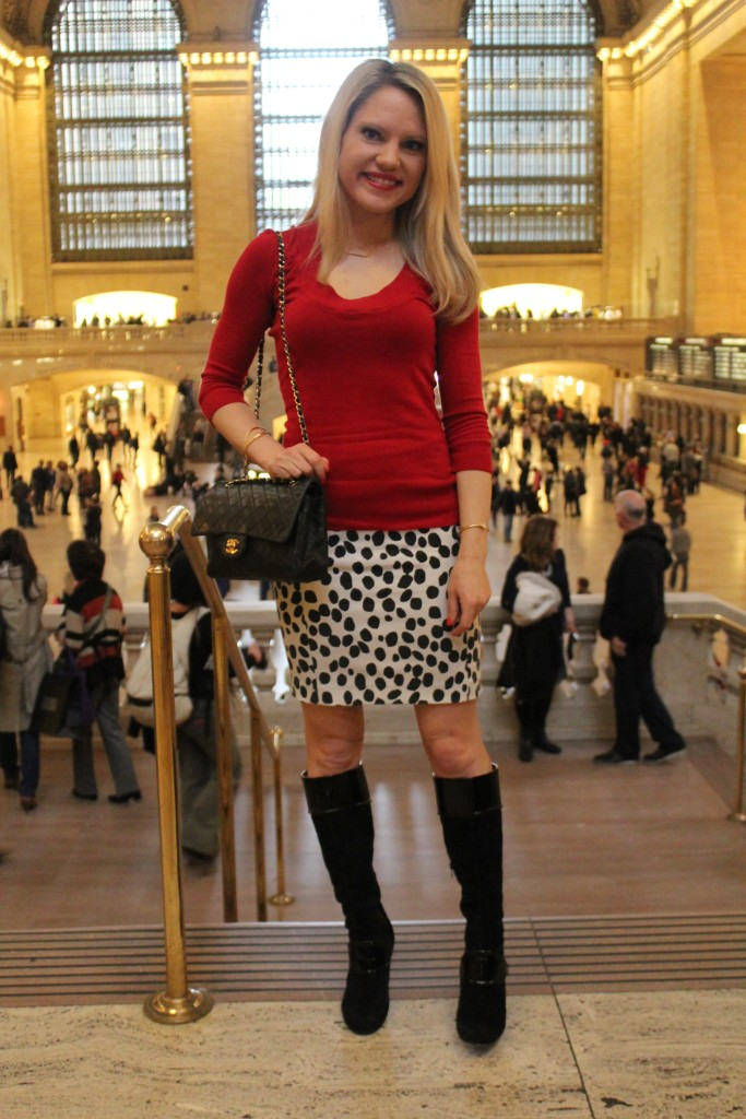 Caitlin Hartley of Styled American red, black and white outfit