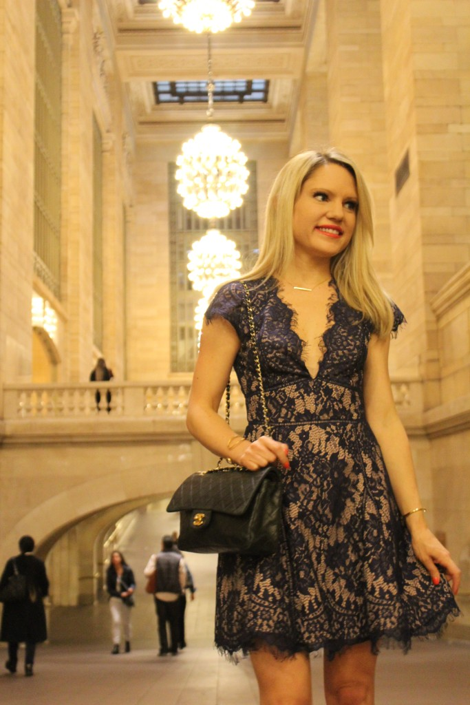 Caitlin Hartley of Styled American blue lace dress