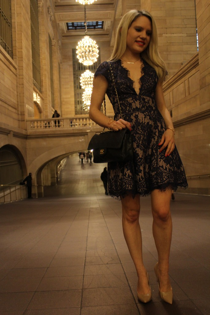 Caitlin Hartley of Styled American navy lace dress